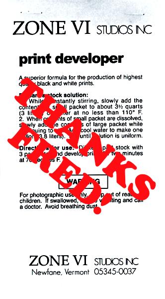 Zone VI Print Developer